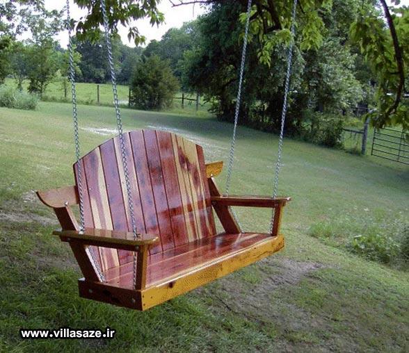 صندلی تابی طرح چوب